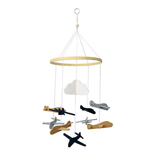 YZNlife Bettglocke,Krippe Mobile für Jungen und Mädchen,Baby Windspiel Bettglocke,Hängende Spielzeug,Musik Krippen bewegliche Rassel,drehende Bettglocke,Mobile für Babybett,Flugzeug