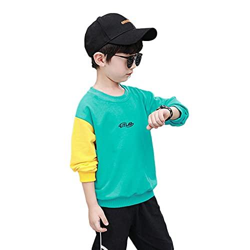 HAARUN NiñOs Pikachu Colorblock Pullover Tops NiñOs Tops De Manga Larga Camisas De Moda Hogar Al Aire Libre Sudadera Ligera Y CóModa Chaqueta CáLida,Green-130cm
