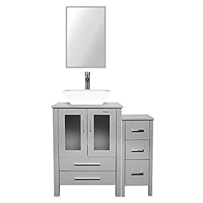 """eclife 36"""" Bathroom Vanity Sink Combo Grey W/Side Cabinet Vanity White Square Ceramic Vessel Sink and Chrome Bathroom Solid Brass Faucet and Pop Up Drain, W/Mirror (A07B02GYB11GY)"""