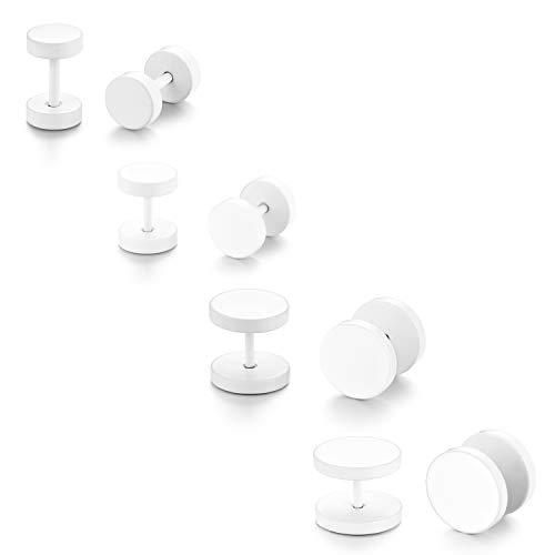 JewelryWe Juego de 4 pares de pendientes de aro de 6 – 12 mm, color blanco, para hombre y mujer, falso dilatador, de acero inoxidable