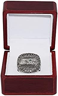 SEATTLE SEAHAWKS (Richard Sherman) 2014 NFC WORLD CHAMPIONS Rare Collectible High-Quality Replica NFL Football Silver Championship Ring with Cherrywood Display Box