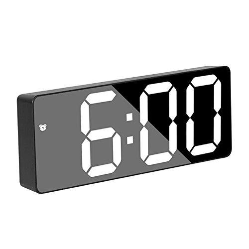 Digital LED Espejo Alarma Reloj de Alarma Digital Snooze Table Reloj de despiximiento Luz Ligera Tiempo Electrónico Pantalla Decoración Reloj de decoración (Color : Black)