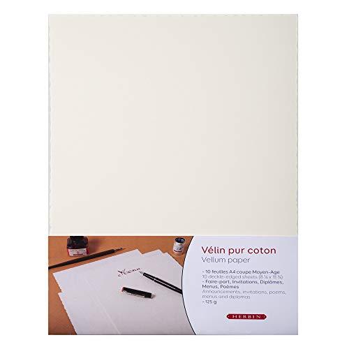 Herbin 90800T - Confezione da 10 fogli di carta Vellum in puro cotone, 125 g, formato A4