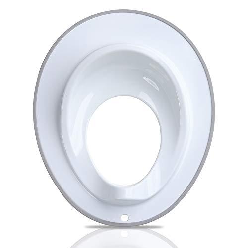 Toiletbril voor peuters. Wit met grijze rand.