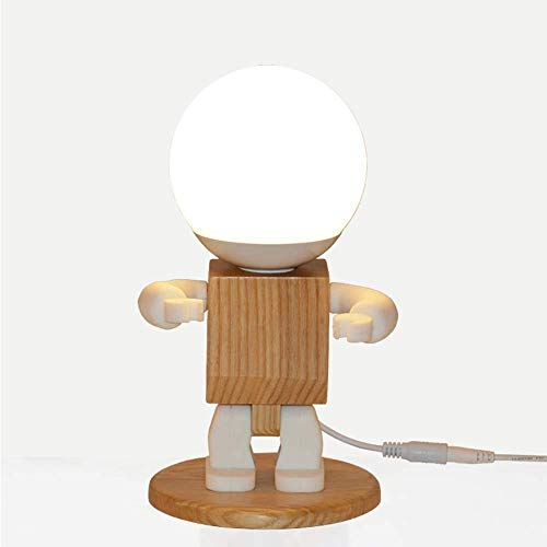 HtapsG Lámpara Escritorio Dormitorio de Aprendizaje de Madera habitación de los ni?os lámpara de Mesa Minimalista Moderna Madera Maciza nórdica Luminosa 14 * 24 cm