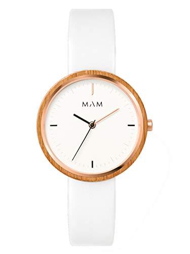 Reloj MAM Plano 667 Unisex, de Madera de Bambú, Color Blanco, 33 mm