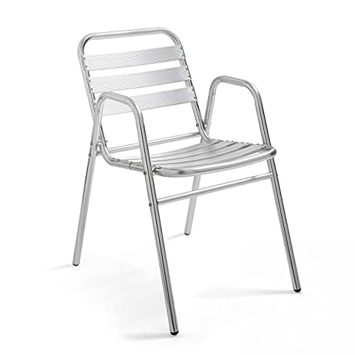 Oviala Chaise de Jardin empilable Gris Carré 48 x 61 x 75 cm Aluminium 1 Place Nothing Hill