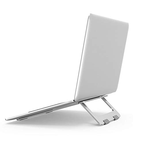 Laptop Foldable Stand, Aluminum Adjustable Desktop Tablet Holder Desk Table Mobile Phone Stand, for Ipad/Macbook/Notebook,Silver