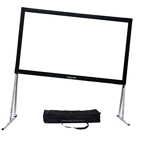 """SCREENPRO Projector Screen with Stand Adjustable Legs (Max 46.9"""") 150"""" Portable Outdoor Fast-Folding Movie Screen HD Ultra 4K with Carry Bag for Indoor/Outdoor,Home Theater Camping or Family Trips"""