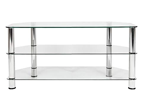 """Mountright Clear Glass TV Stand For Most 32"""" Up To 50"""" 3D LED LCD & Plasma Television"""