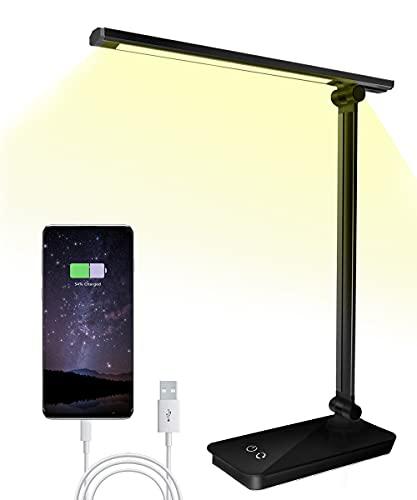 Bizcasa Lámpara Escritorio,Lámpara LED de mesa,5W Regulable Cuidado a Ojos, 3 Niveles de Brillos, 5 colores ajustable, Puerto USB 5V/ 1A, Control Táctil, Bajo Consumo de Energía, Ángulo Ajustable