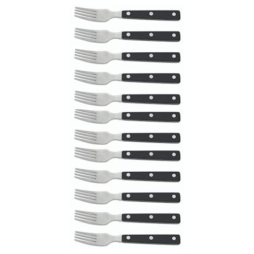 Arcos Couteaux de Table - Boîte 12 pièces Fourchette à Steak - Acier Inoxydable 18/10 et 195 mm - Manche Polyoxyméthylène (Pom) Couleur Noir (12 pcs)