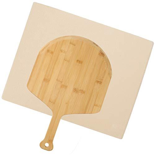 VINGO Pizzastein Ofen Schamottstein aus Cordierit mit Bambus Pizzaschaufel, für Backofen Gitterrost & Weber Grill, Backstein Schamott für Pizza, Backstein 30 x 38 x 1,5 cm, beige
