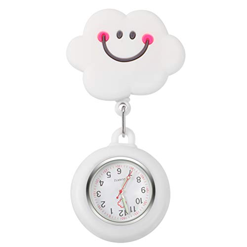 POPETPOP ナースウォッチ看護懐中時計クリップで時計漫画クラウドブローチクォーツ医療胸懐中時計クラスプ腕時計バッジペンダントのための医療所スタッフ