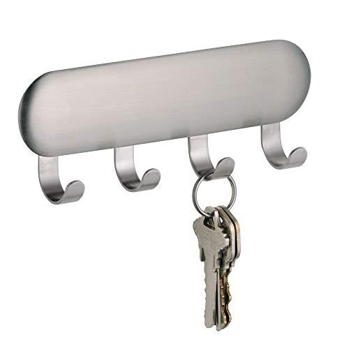 mDesign AFFIX Portachiavi con sistema autoadesivo - Appendichiavi e portaoggetti da parete in acciaio da appendere senza viti - Pratico e funzionale - Colore: argento