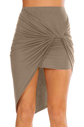 Simlu Womens Drape Up Stretchy Asymmetrical High Low Short Mini Bodycon Pencil Skirt Mocha Medium