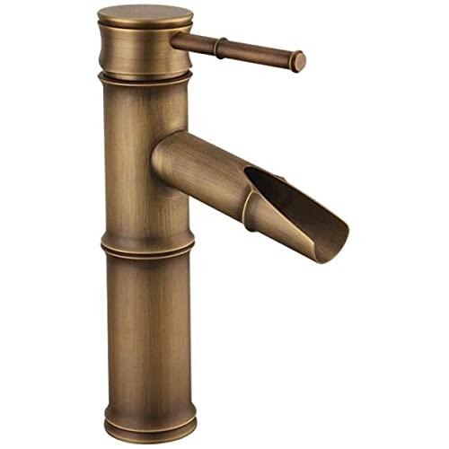Grifos de lavabo de baño duraderos Sección de bambú rústico clásico Grifo mezclador de lavabo de cobre macizo antiguo Fregadero retro Grifos de agua fría y caliente Contador Grifo de cascada Fácil ins