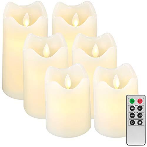 Britesta Flackerkerze: 6er-Set dimmbare LED-Echtwachskerzen, bewegliche Flamme, Fernbedienung (LED Kerzen mit Timer)