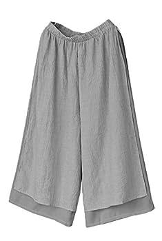 Minibee Women s Wide Leg Pants Loose Layer Capris Yoga Palazzo Elastic Waist Trousers Grey XL