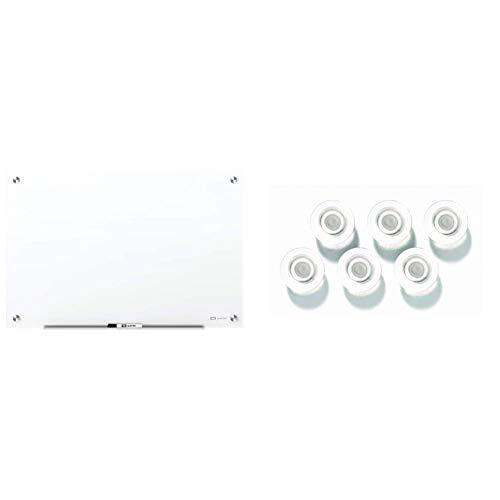 Quartet Glass Whiteboard, Magnetic Dry Erase White Board, 3' x 2', Frameless, Brilliance White & Strong Magnets, Glass Whiteboard, Dry Erase Board, Large, Clear Rare Earth Magnets, 6 Pack (85391)