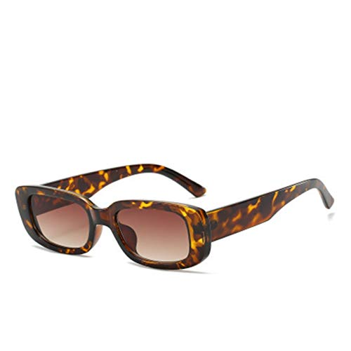QQGGTongFeng Clásico Gafas de Sol Negras Hombres/Mujeres Diseñador de Marca Retro Gafas de Sol Rectángulo Eyeaglass Hembra Gafas para Exterior (Lenses Color : Leopard Tea)