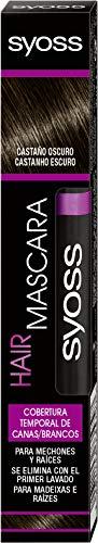 SYOSS Hair Mascara, Cepillo Cubrecanas Retoca Raíces, Tono Castaño Oscuro, Fácil Aplicación - 16ml