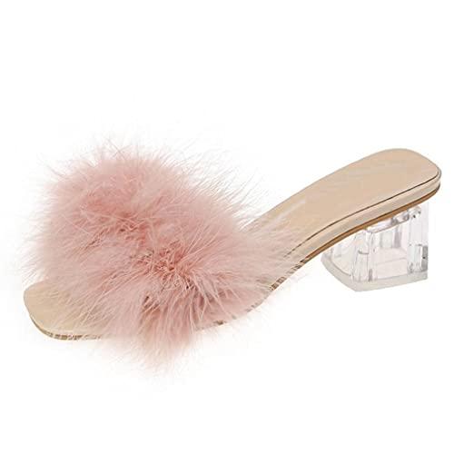 2021 Verano De Talla Grande Moda Diaria para Adultos De Tacón Grueso De Tacón Alto De Forma Plana Zapatillas Peludas Sandalias De Mujer Rosa