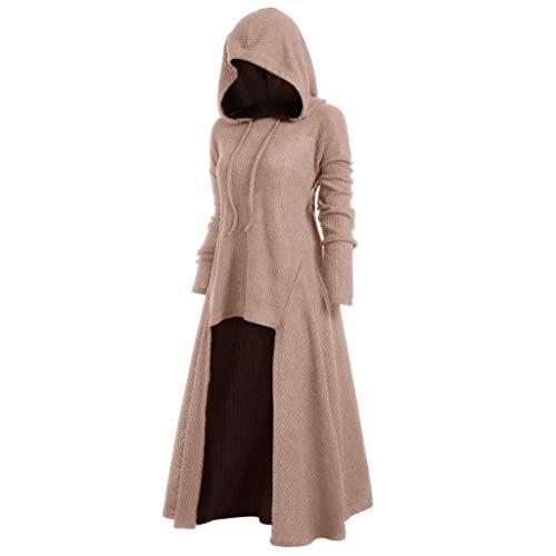 Mittelalter Kleidung Damen Kleid Gothic Mantel GroßE GrößEn Halloween KostüM Umhang mit Kapuze,Kanpola Karneval Party Strickkleid Longpullover UnregelmäßIg Hoodie Herbst Winter
