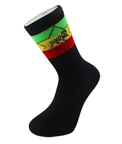 ITZU 1 paire de chaussettes rasta en coton rasta, motif lion de Judah, confort 39-45