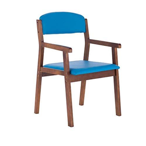 Dining Chairs ZHANGZZ-Sillas de Comedor Artículos for el hogar sillas de Madera, sillón de Madera, sillas de Comedor, la Sala de Marco de Madera (Color : Blue)