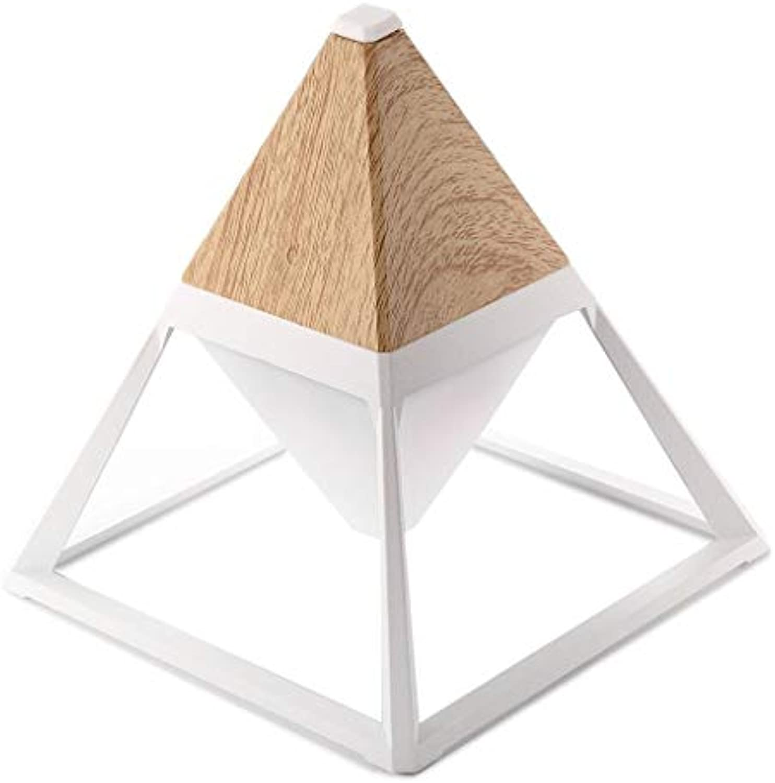 Holzmaserung Nachtlicht LED Pyramidenform Nachttischlampe Touch Adjustment 3 Lichtfarbe und Stufenloses Dimmen USB Wiederaufladbare Schreibtischleuchten für Kinder Baby Kinderzimmer Stillen