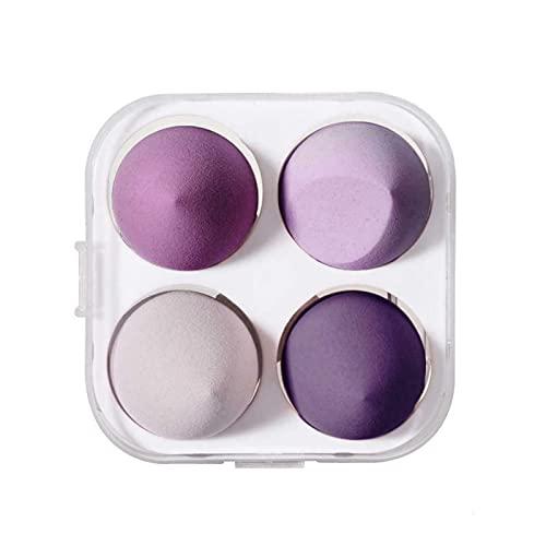 Set di 4 spugnette da trucco, per fondotinta in spugna, multicolore a forma di uovo per uso asciutto e bagnato (regalo aggiuntivo: scatola di immagazzinaggio spugna) (viola)