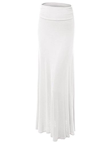 MBJ WB296 Womens Lightweight Floor Length Maxi Skirt XXXL White