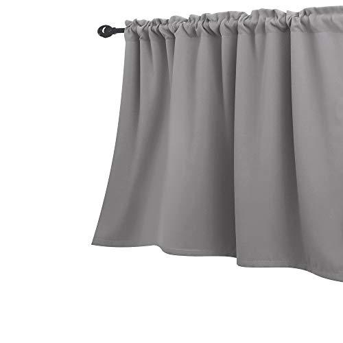 Light Grey Valances for Windows Rod Pocket Short Curtain Valence Blackout Window Valances for Kitchen Basement Bathroom 52 x 18 Inch Length Silver Gray