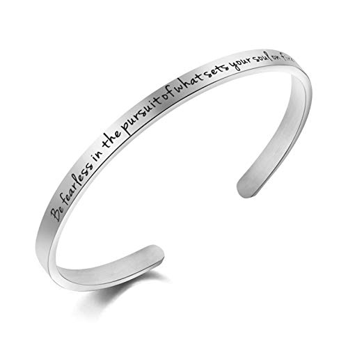 Awegift Be Fearless in The Pursuit of What Sets You Soul on Fire Motivational Quote Bracelet Gift Jewelry for Women Girls