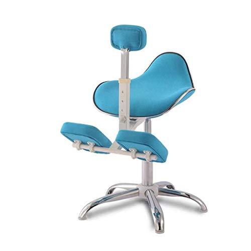 WXX Kniestuhl, Ergonomischer Schreibtisch Haltungskorrektur für Kinder Kniehocker Linderung von Rücken- und Nackenschmerzen Höhenverstellbar,Blue