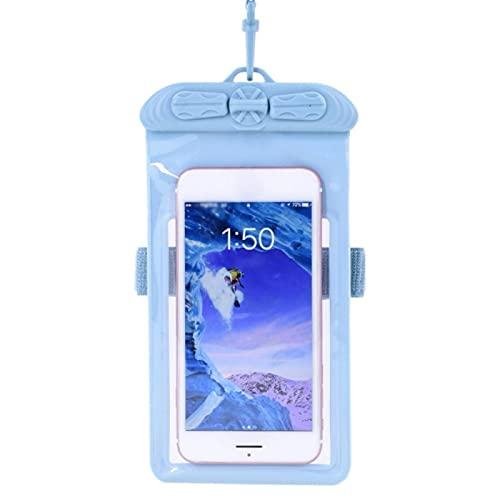 QINX Brazalete de natación impermeable para teléfono móvil, bolsillo para pantalla táctil, para surf, buceo, playa, mar, azul