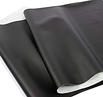 Mybecca Black Weatherproof Faux Leather Finish Marine Vinyl Fabric Half Yard  1.5 Foot x 54 Inch  Material Sheets for Upholstery Crafts DIY Sewings Sofa Handbag,