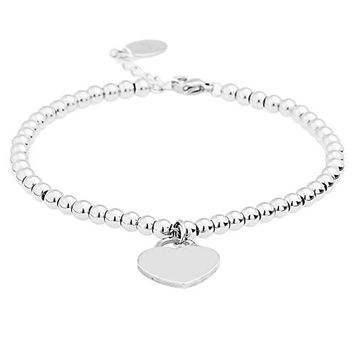Inscintille Bracelet with Steel Balls and Smooth Heart
