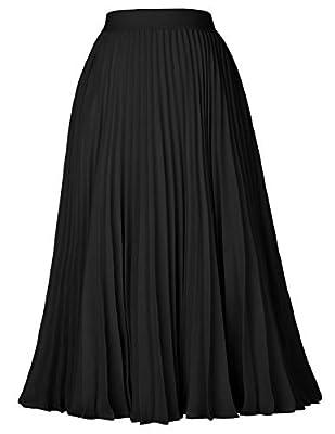 High Waist Elastic Pleated Swing Skirt Tea Length Black Size M KK659-3