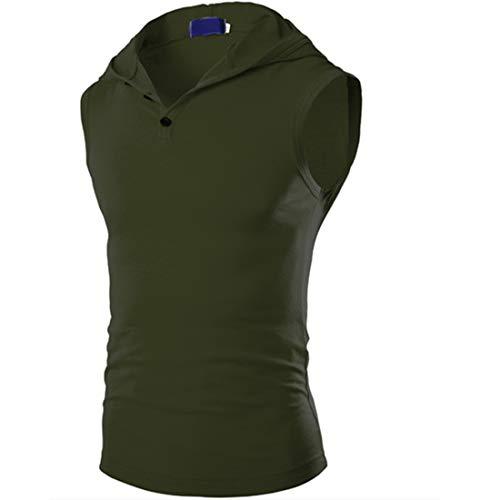 XWLY Cappuccio T-Shirt Uomo Estate Senza Maniche vestibilità Slim Uomo T-Shirt Basic Abbottonatura Canotta Moderna Casual personalità Palestra Tendenza Uomo Tank Top F-Green L