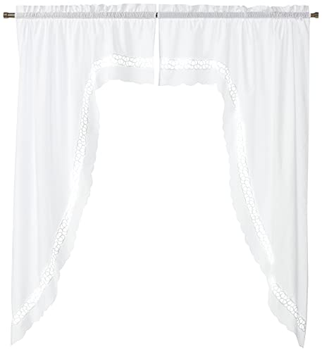 Today's Curtain Hellina Tapework Window Swagger, 63-Inch, White - Hellina CA1800K