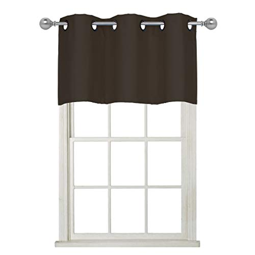 Home Queen Grommet Top Blackout Curtain Valance Window Treatment for Living Room, Short Straight Drape Valance, Set of 1, 37 X 18 Inch, Brown