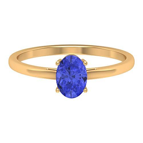 Anillo de promesa de solitario, 1,26 quilates con forma ovalada de 8x6 mm, anillo de compromiso ovalado, joyería de oro apilable, anillo de compromiso simple, 18K Oro amarillo, Size:EU 44