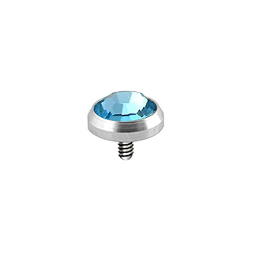 Leichte Blaue 5MM Runde Crystal Stein 316L Chirurgenstahl Gewinde intern Top Micro Dermal Anchor Piercing-Schmuck