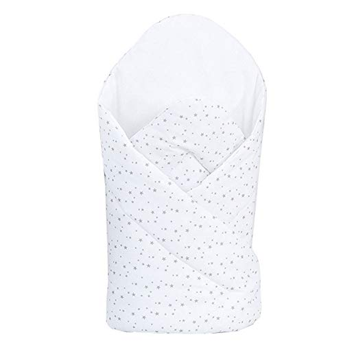 ClevereKids Taufkissen Einschlagdecke | Sterne weiß-hellgrau | Ökotex Standard 100 | waschbar