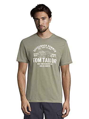 Tom Tailor 1026057 Logo Camiseta, 10905-Tree Moss Green, 3XL para Hombre
