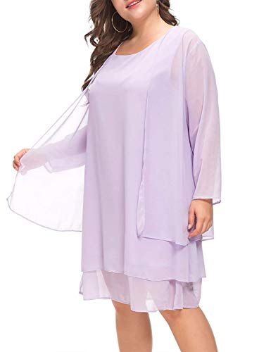 MISSJOY Plus Size Women's Chiffon Dress Mother of The Bride Dresses with Jacket Long Sleeve 2pcs Set Knee Length Light Purple