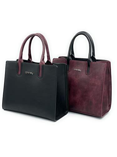 Orkney 2 Bolsos de Mano Mujer Elegante Pack Negro y Burdeos de Cuero PU. Bolso de Mano Moda Mujer.