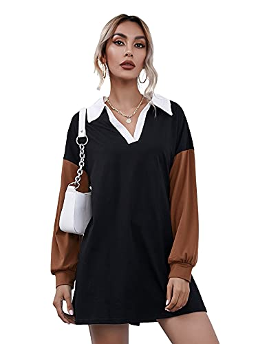 SheIn Women's Color Block Long Sleeve V Neck Collar Sweatshirt Short Tee Dress Black Small
